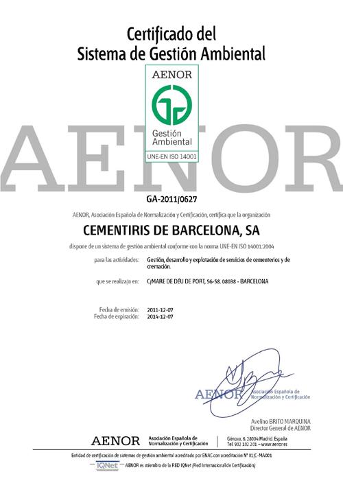 Certificat del Sistema de Gestió Ambiental